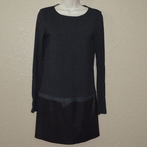 Sz S Theory Gray Black Leather Contrast Dress